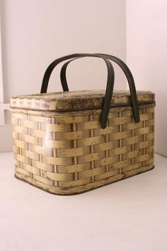 Vintage metal basket biscuit tin by fuzzymama on Etsy, $25.00