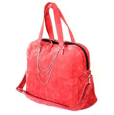 Handmade Large Suede Bag Overnight Bag Recycled by byBessert