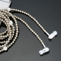 Fashion Bling Diamond Pearl Necklace Earphones with Microphone Beads 3.5mm Earphone For iphone Samsung Xiaomi Huawei Ear Phone