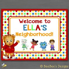 Hey, I found this really awesome Etsy listing at https://www.etsy.com/listing/203285275/daniel-tiger-birthday-welcome-door-sign