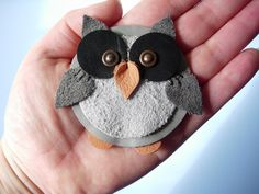 Leather Owl Brooch ∙ Creation by vInTaGe~VioLeT on Cut Out + Keep