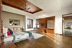 Ajay Patel Residence | Dipen Gada & Associates Hall Interior Design, Modern Bedroom Design, Indian Home Design, Indian Home Decor, Dream House Plans, My Dream Home, Home Building Design, House Design, Kota Stone Flooring