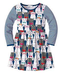 Sunshine Swing Navy Stripe Cat Skater Dress - Toddler & Girls | zulily