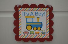 Train Theme It's A Boy Baby Shower Welcome by SweetEPaperBoutique, $10.00