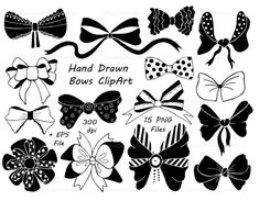 Hand Drawn Bows Clipart Ribbons PNG EPS AI vector Tied