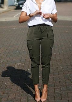 Olive green pants for professional capsule wardrobe.