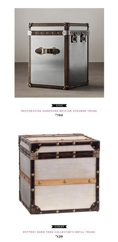 Restoration Hardware Mayfair Steamer Trunk $760 vs Pottery Barn Teen Collector's Metal Trunk $139