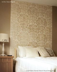 Use the Très Bon Stencil Pattern and Large Fabric Damask Stencil for an Elegant Guest Bedroom Headboard Damask Decor, Damask Wall, Damask Stencil, Home Bedroom, Bedroom Wall, Bed Wall, Master Bedroom, Most Comfortable Bed, Royal Design