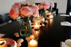 MY DIY WEDDING RECEPTION TABLE MOCK UP- ST.KITTS BEACH WEDDING :  wedding ball mason jars beach wedding diy flowers inspiration island ivory mecury glass peony pink pink shells reception sand dollars sea urchins silver white Wedding Table Mock Up 1