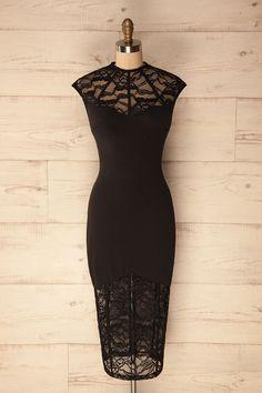 Valentine's Day with Opatija #Boutique1861 / Black lace midi cocktail dress. #littleblackdress