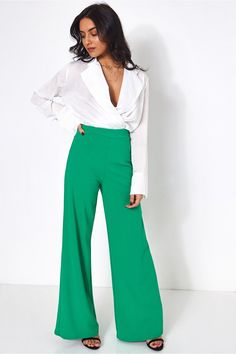Green High Waisted Wide Leg Trousers - The Fashion Bible from The Fashion Bible UK