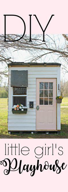 DIY playhouse. Little girl's playhouse. Pink playhouse.
