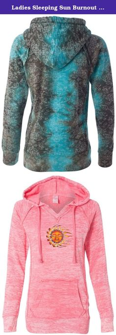 "Ladies Sleeping Sun Burnout V Hoodie, 2XL Coral. A mix of color, blended with burnout, take this pullover to new heights. Superior Cotton/Poly blend. Modern ""burnout"" style."