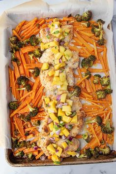 This sheet pan coconut chicken with sweet potatoes, broccoli, and mango salsa is a delicious and flavorful weekday dinner recipe! Paleo, Whole30, and AIP friendly Herb Recipes, Chicken Recipes, Dinner Recipes, Food Network Recipes, Real Food Recipes, Candied Carrots, Crispy Sweet Potato, Coconut Chicken, Allergy Free Recipes