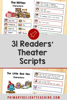 Your students will love these readers theater sripts that are based on popular folktales and fairy tales. They were written specifically for kindergarten, 1st grade and 2nd grade. Color-coded text boxes make it easy for students to follow along. They are perfect for guided reading or partner reading. You can also use them to help students build fluency and expression while they read or for an end of the year classroom play.
