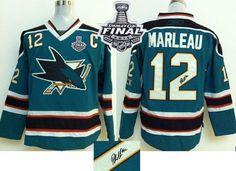 Sharks #12 Patrick Marleau Teal Autographed 2016 Stanley Cup Final Patch Stitched NHL Jersey #PaulMartin #OlliMaatta #TomBarrasso #RonFrancis #LarryMurphy #MarkRecchi #OrpikWhite #PatricHornqvist #JaromirJagr #PhilKessel