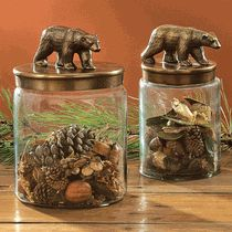 Rustic Bear Glass Canisters