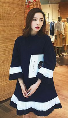 Fashiontroy Street Style 3/4 sleeves crew neck navy blue striped pleated cotton blend mini dress