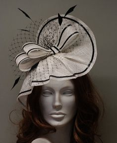Fascinator Hat White and Black for Ascot, Derby, Wedding
