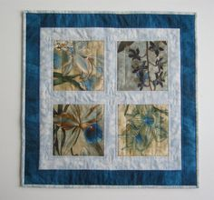 Quilted Table Topper Exotic Blue Orchids by OrchidFabricDecor