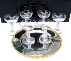 Vintage Champagne Glass Set 6 Atomic Mid by OceansideCastle