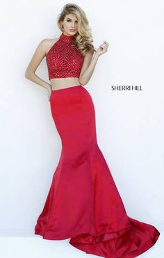 Sherri Hill 2015 Fall Collection Two Piece Beaded Top Mermaid Gown