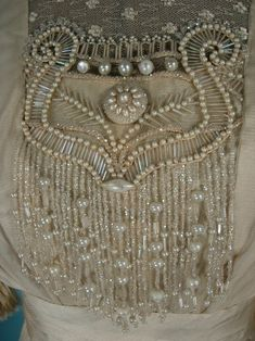 """c. 1910/1911 Ecru """"Artificial Silk"""" Fringe, Beaded and Lace Trained Wedding Gown from Antique Dress"""