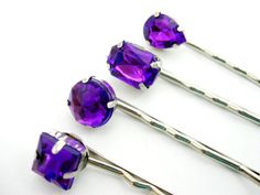 Rhinestone Bobby Pins, Purple Hair Pins, Hair Clip, Hair Jewel, Wedding, Bridesmaid, Bridal Hair Clip, Women Hair Accessory on Etsy, $9.40 AUD