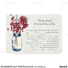 "AD LIB RSVP Card  Wild Flowers & Mason Jar 3.5"" X 5"" Invitation Card"
