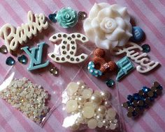 Teal & White Kawaii DIY Cellphone Kit by CandyCells on Etsy