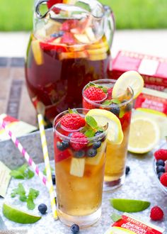 Bigelow Iced Tea Punch - fresh fruit, and lightly sweetened black tea with lemon (American Breakfast) come together for the perfect drink.