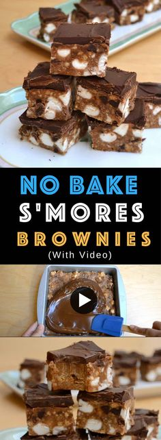 Peanut Butter S'mores No Bake Brownies – So easy to make and perfect for a summertime treat! All you need is a few simple ingredients: butter, peanut butter, sugar, graham crackers, eggs, vanilla extract, chocolate chips and marshmallows. Kids friendly, quick and easy recipe, no bake recipe. Video recipe. | Tipbuzz.com