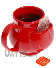 Ceramic mug with a pouch to hold your tea bag. $9.95@Chrissi Lauritzen This makes me think of you!