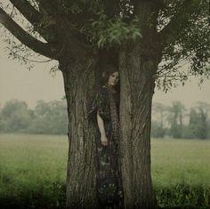"""killerbeesting: """" John Cimon Warburg - The Dryad, taken around 1910. (A Dryad was a tree-dwelling nymph in Greek mythology) """""""