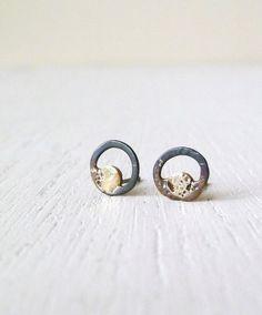Moon Eye. Dainty Black Circle Gold Drop Dots Earring Studs in Sterling Silver Brass/ OOAK post earrings/gift ideas