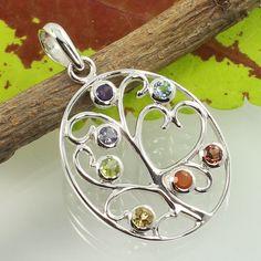 925 Sterling Silver Chakra Pendant Real MULTI-COLOR Gemstones ! Christmas Gift #SunriseJewellers #Pendant