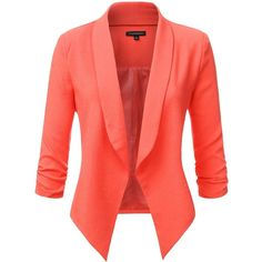JJ Perfection Women's Texture Woven Thin Ruched Sleeve Open-Front... ($30) ❤ liked on Polyvore featuring outerwear, jackets, blazers, open front jacket, padded jacket, textured blazer, thin jackets and red jacket