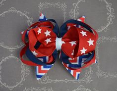 Red White & Blue Patriotic Hair Bow American by SewCuteBoutiqueBow