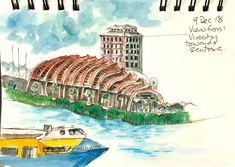 View from Vivocity to Sentosa. Ink and wash Weekend Artist, Ink, Movie Posters, Film Poster, India Ink, Billboard, Film Posters