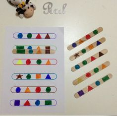 Lolly-pop stick shape pattern match-up activity Preschool Learning Activities, Toddler Activities, Preschool Activities, Dinosaur Activities, Montessori Materials, Tot School, Kids Education, History Education, Teaching History