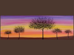 """36"""" Original Modern Abstract Heavy Texture Painting Landscape Tree Sun Wall Decor """"Sunset"""" by QIQIGALLERY. $165.00, via Etsy."""