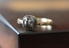 Natural Grey Cushion Rose Cut Diamond Ring in 14kt Gold- engagement ring, wedding ring, hammered band, alternative diamond ring. $400.00, via Etsy.