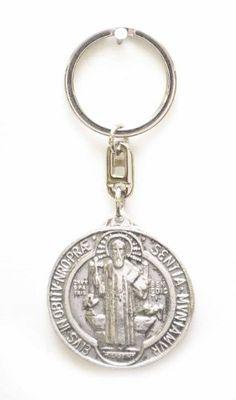 RELIGIOUS KEY CHAIN, SAINT BENEDICT-1 3/4 INCHES IN DIAMETER, MADE OF ALUMINUM