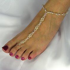 Foot Jewelry Wedding | Barefoot Sandals Bridal Foot Jewelry Swarovski Crystal Pearl Design 3 ...