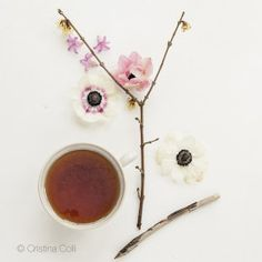 Tea & Flowers #3 - Tea Time collection - Modern still life - Limited Edition Giclée print © Cristina Colli