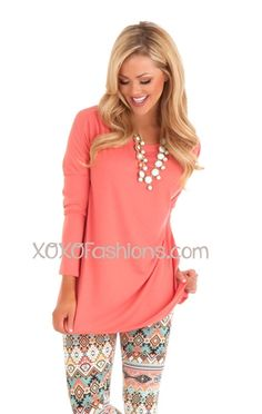 Coral Piko Top, spring fashion, Trendy Dress, trendy top, dolman sleeves top, cute spring tops, peach lace shirt, coral shirt, affordable boutique clothes, cheap womens clothing, trendy boutique clothes, tunic, leopard leggings