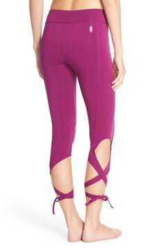 Can't wait to hit the dance studio in these fuchsia Free People capri leggings crafted from breathable, stretchy microfiber that supports and flatters the legs.