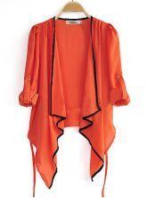 Orange Draped Front Three Quarter Length Sleeve Tie Back Chiffon Cardigan $33.95