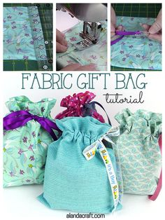 Quick & Easy Drawstring Gift Bag Tutorial Learn to make a fabric drawstring bag with this easy step-by-step tutorial. Easy sewing pattern for beginners. Great for Christmas or birthday gifts. More easy sewing gifts to make at Easy Sewing Patterns, Easy Sewing Projects, Sewing Projects For Beginners, Sewing Hacks, Sewing Tutorials, Sewing Tips, Christmas Sewing Patterns, Ribbon Projects, Christmas Sewing Projects