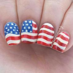 "Patriotic nails! I was going for a waving, bit distressed flag. - - Base color: ""Coconut"" Fresh Paint Everything else: Acrylic Paint Top coat: HK girl @glistenandglow1"